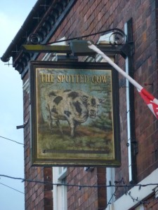 Traditional pub-sign for the Spotted Cow, Bloxwich